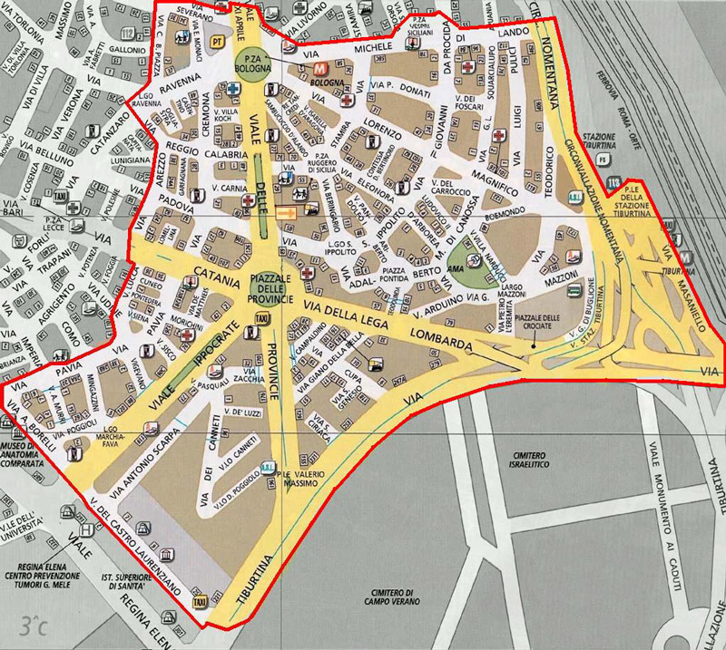 Mappa con i confini parrocchiali